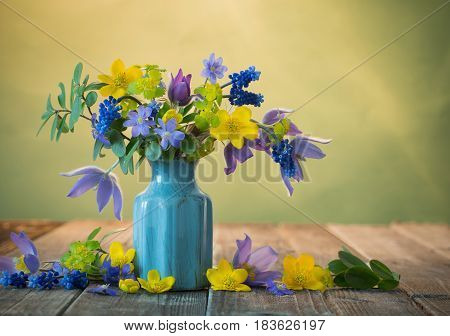 Still life with a beautiful spring  flowers