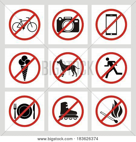 set of prohibition signs at the entrance to the store or shop. Not allowed icons: no dogs no ice cream no smoking no skates no bike no photo no fire no smartphone no eat no run