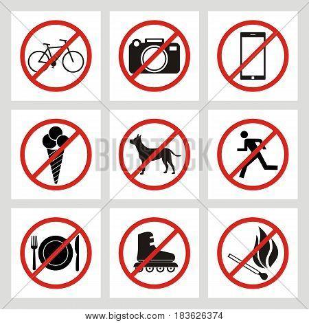 set of prohibition signs at the entrance to the store or shop. Not allowed icons: no dogs no ice cream no smoking no skates no bike no photo no fire no smartphone no eat no run