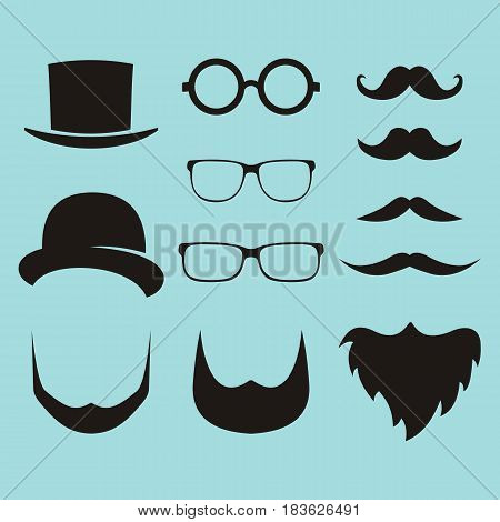 Vector set of dress up constructor with different men glasses beard mustache wear in trendy flat style. Flat man faces icon creator
