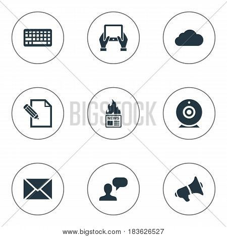 Vector Illustration Set Of Simple Newspaper Icons. Elements Keypad, Overcast, Gazette And Other Synonyms Notepad, Laptop And Debate.