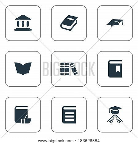 Vector Illustration Set Of Simple Knowledge Icons. Elements Library, Notebook, Reading And Other Synonyms Page, Book And Cap.