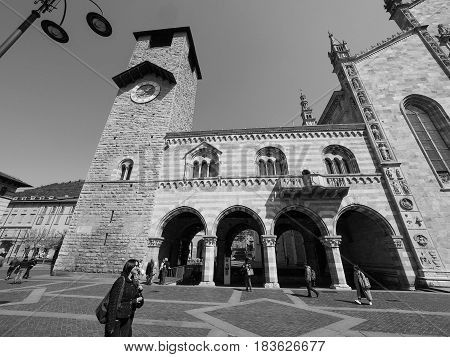 Broletto (town Hall) In Como In Black And White