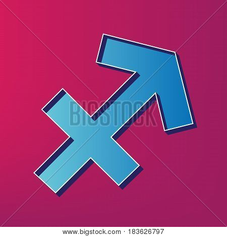 Sagittarius sign illustration. Vector. Blue 3d printed icon on magenta background.