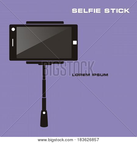 Monopod Selfie. Taking Selfie Photo on Smart Phone with monopod concept. Vector