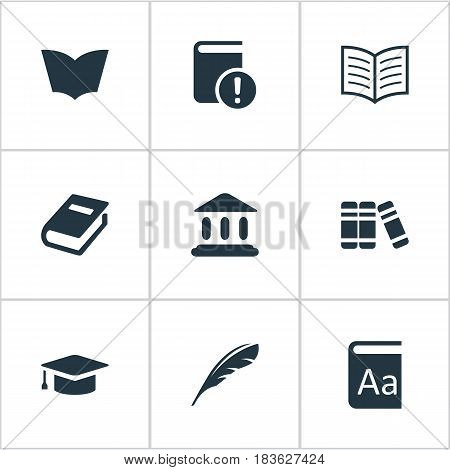 Vector Illustration Set Of Simple Reading Icons. Elements Plume, Library, Alphabet And Other Synonyms Library, Catalog And Reading.