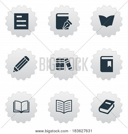Vector Illustration Set Of Simple Knowledge Icons. Elements Bookshelf, Tasklist, Notebook And Other Synonyms Blank, Textbook And Pencil.