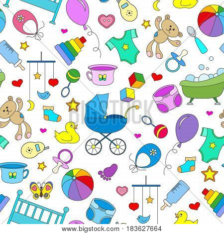 Seamless pattern on the theme of childhood and newborn babies baby accessories accessories and toys simple color icons on white background