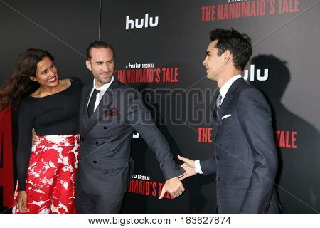 LOS ANGELES - APR 25:  Maria Dolores Dieguez, Joseph Fiennes, Max Minghella at the Premiere Of Hulu's