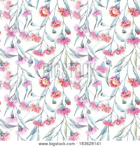 Beautiful seamless pattern with hand drawn watercolor eucalyptus flowers
