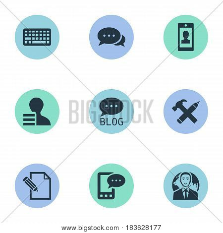 Vector Illustration Set Of Simple User Icons. Elements Document, Gain, Site And Other Synonyms Negotiation, Blog And Phone.