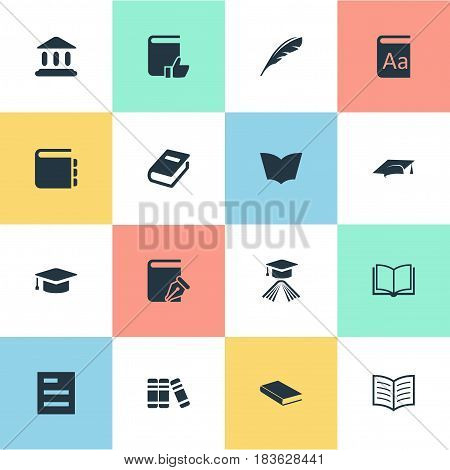 Vector Illustration Set Of Simple Knowledge Icons. Elements Journal, Academic Cap, Sketchbook And Other Synonyms Academy, Dictionary And Hat.