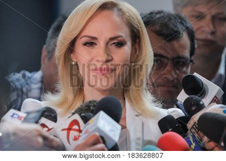 BUCHAREST ROMANIA June 5 2016: Gabriela Firea (C) the candidate for City Hall participate in the local elections in Bucharest.