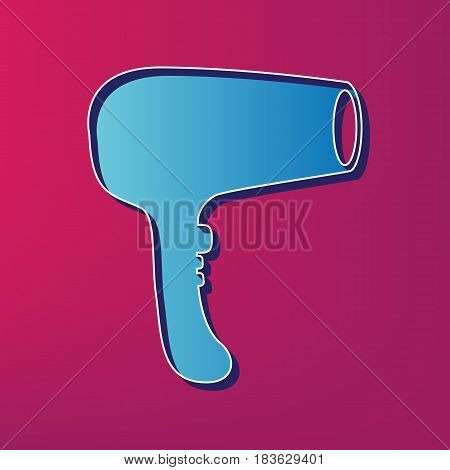 Hair Dryer sign. Vector. Blue 3d printed icon on magenta background.