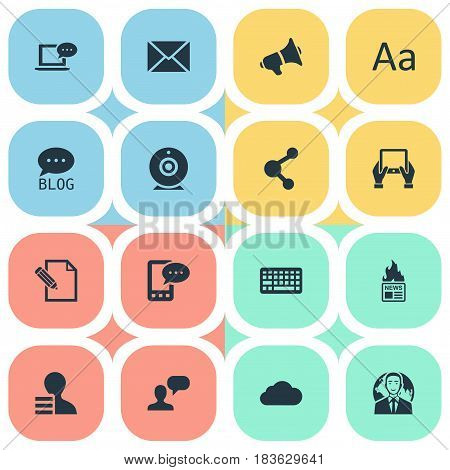 Vector Illustration Set Of Simple Newspaper Icons. Elements Broadcast, E-Letter, Post And Other Synonyms Contract, Gazette And Writing.