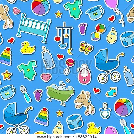 Seamless pattern on the theme of childhood and newborn babies baby accessories and toys simple color stickers icons on blue background