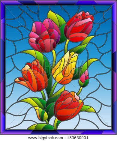 Illustration in stained glass style with tulips buds and leaves on a blue background in a bright frame