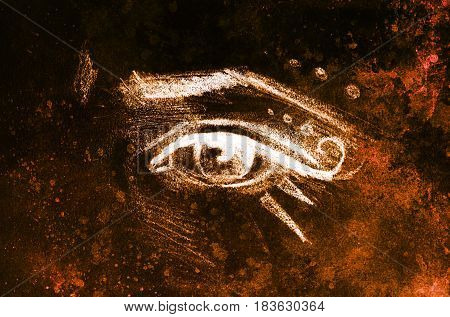 sketch of woman eye with eyebrow and makeup ornaments, drawing on abstract background
