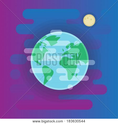 Earth icon illustration, Earth in space, flat style
