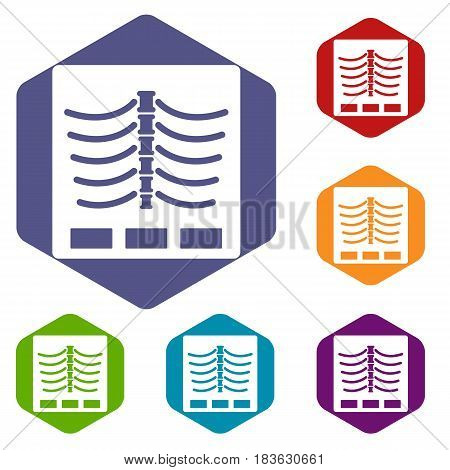 X ray photo icons set hexagon isolated vector illustration
