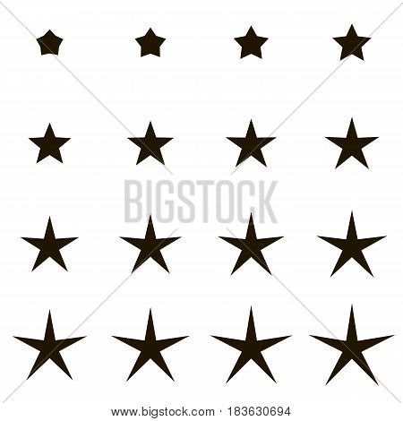 Set stars with different rays, angles, vector set stars transition from short to long rays