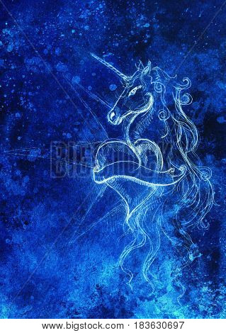 linear drawing of unicorn with heart shape on abstract background