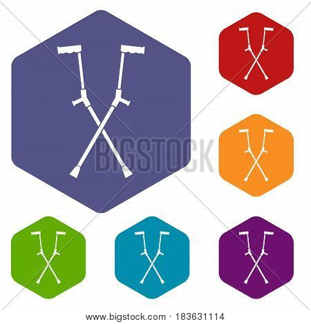 Other crutches icons set hexagon isolated vector illustration