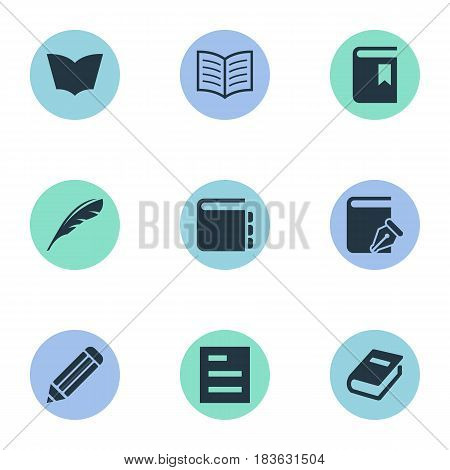 Vector Illustration Set Of Simple Reading Icons. Elements Tasklist, Book Cover, Book Page And Other Synonyms Note, Feather And Notepad.