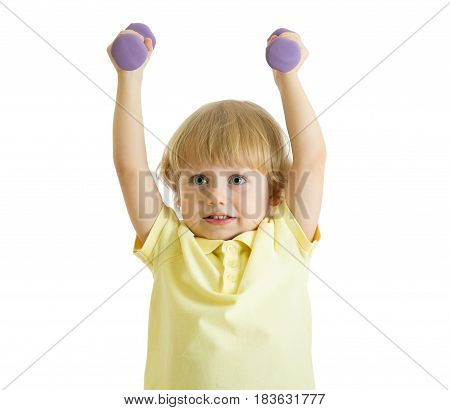 Child boy doing exercises to develop muscles isolated on white background
