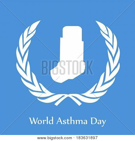 Illustration of asthma ihaler with World Asthma Day text