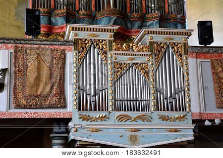 Organ. Inside the fortified medieval saxon church Codlea, the largest in the Burzenland historic region, Transylvania, Romania. The city of Codlea is believed to have been also founded by Germans.