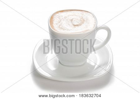 a cup of capuchino coffee on white isolated background
