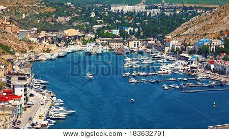 Balaklava Bay in Sevastopol city from the height. Crimea