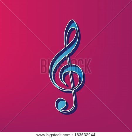 Music violin clef sign. G-clef. Treble clef. Vector. Blue 3d printed icon on magenta background.