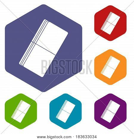 Eraser icons set hexagon isolated vector illustration