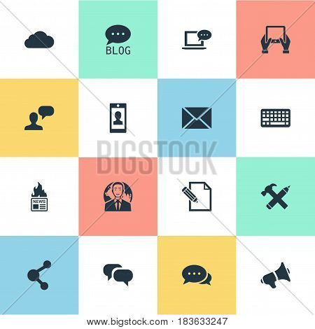 Vector Illustration Set Of Simple Blogging Icons. Elements Post, Overcast, Argument And Other Synonyms Man, Globe And Overcast.