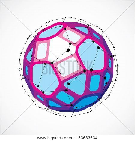 Vector Dimensional Wireframe Low Poly Object, Spherical Purple Facet Shape With Black Grid. Technolo