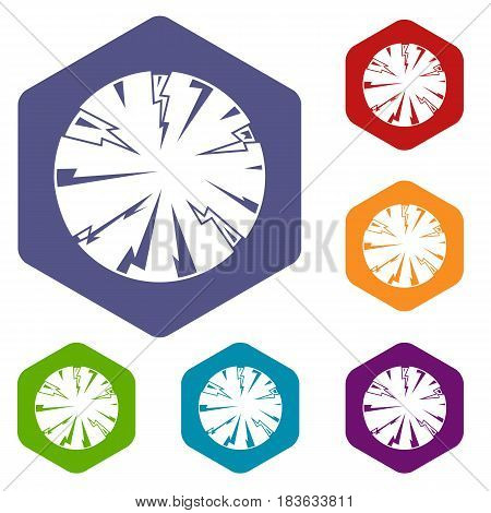 Dangerous planet icons set hexagon isolated vector illustration