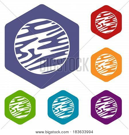 Far away planet icons set hexagon isolated vector illustration