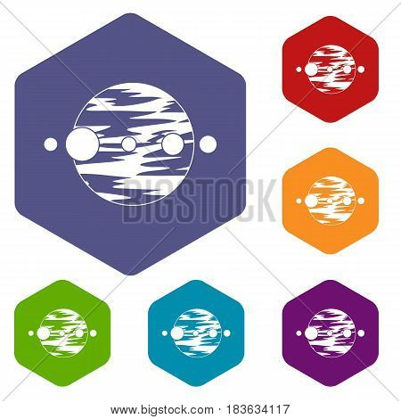 Planet and moons icons set hexagon isolated vector illustration
