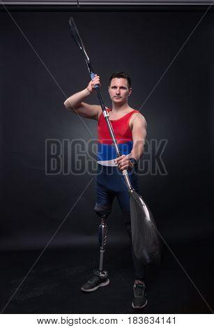 Man Canoe Kayak Paddle, Athlete Sportsman, Prosthetic Leg, Disabled