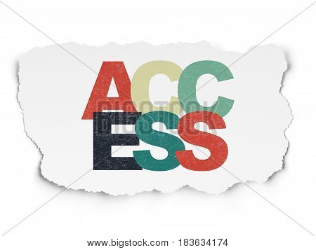 Security concept: Painted multicolor text Access on Torn Paper background