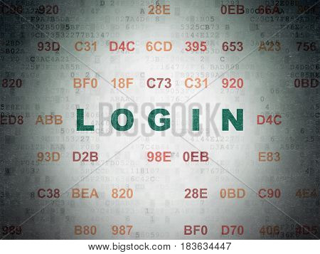 Protection concept: Painted green text Login on Digital Data Paper background with Hexadecimal Code