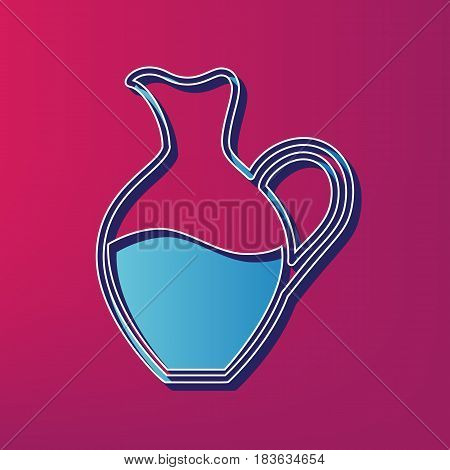 Amphora sign. Vector. Blue 3d printed icon on magenta background.