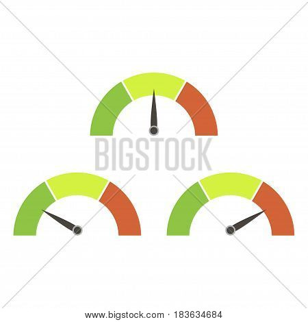 Speedometer or rating meter signs infographic gauge element