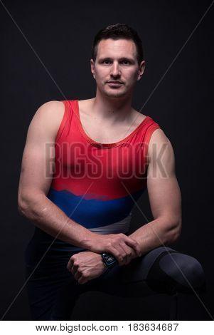 Man Posing, Kayak Canoe Sportsman Strong Muscular