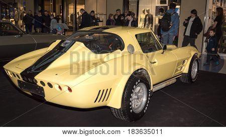 Moscow, Russia - April 02, 2017: Yellow Chevrolet Corvette C2 Stingray Rally, Usa, 1967. Retro Car E