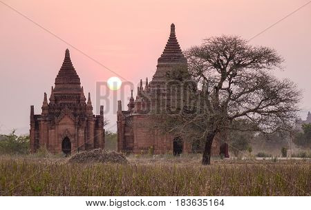 Ancient Buddhist temples at sunset in Bagan Myanmar. Bagan is one of the world greatest archeological sites a sight to rival Machu Picchu or Angkor Wat.
