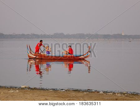Wooden Boats On The Lake In Mandalay, Myanmar