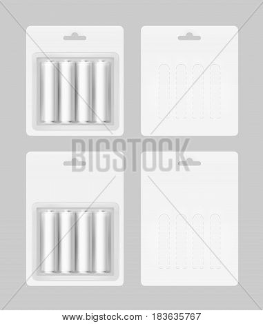 Vector Set of Four White Silver Gray Glossy Alkaline AA Batteries in White Blister Packed for branding Close up Isolated on Background